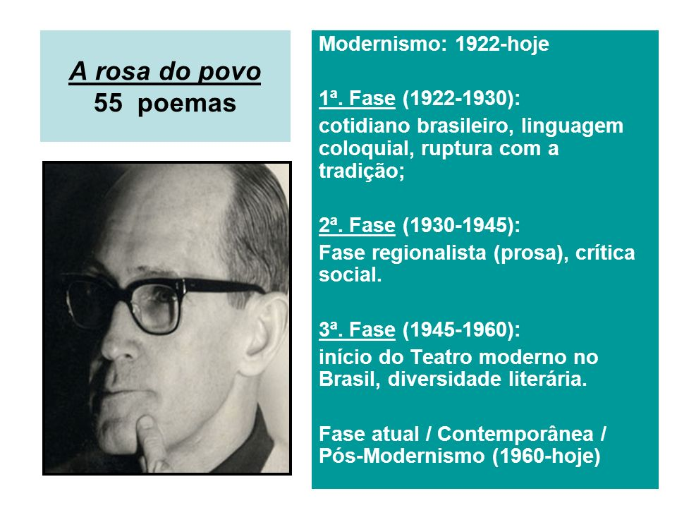 A rosa do povo 55 poemas Modernismo: 1922-hoje 1ª. Fase (1922-1930):