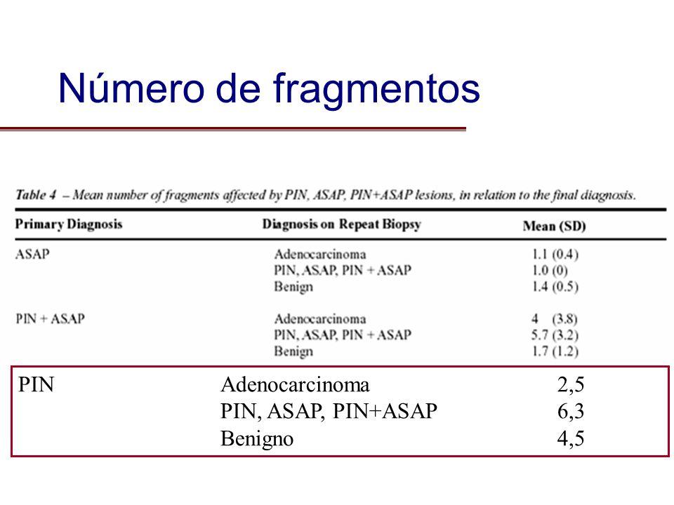 Número de fragmentos PIN Adenocarcinoma 2,5 PIN, ASAP, PIN+ASAP 6,3