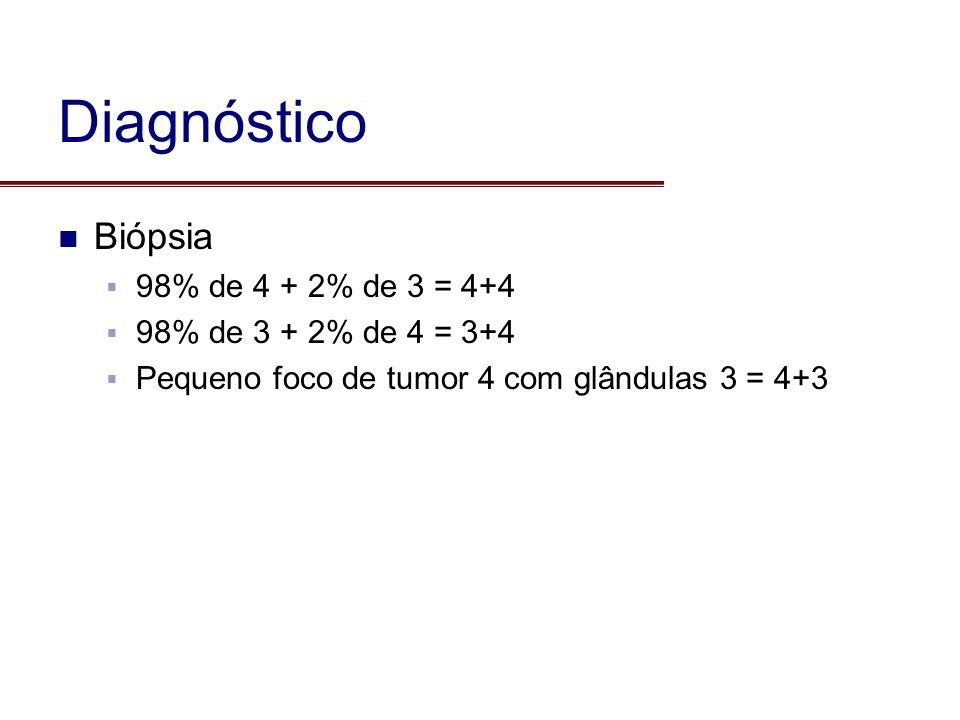 Diagnóstico Biópsia 98% de 4 + 2% de 3 = 4+4 98% de 3 + 2% de 4 = 3+4