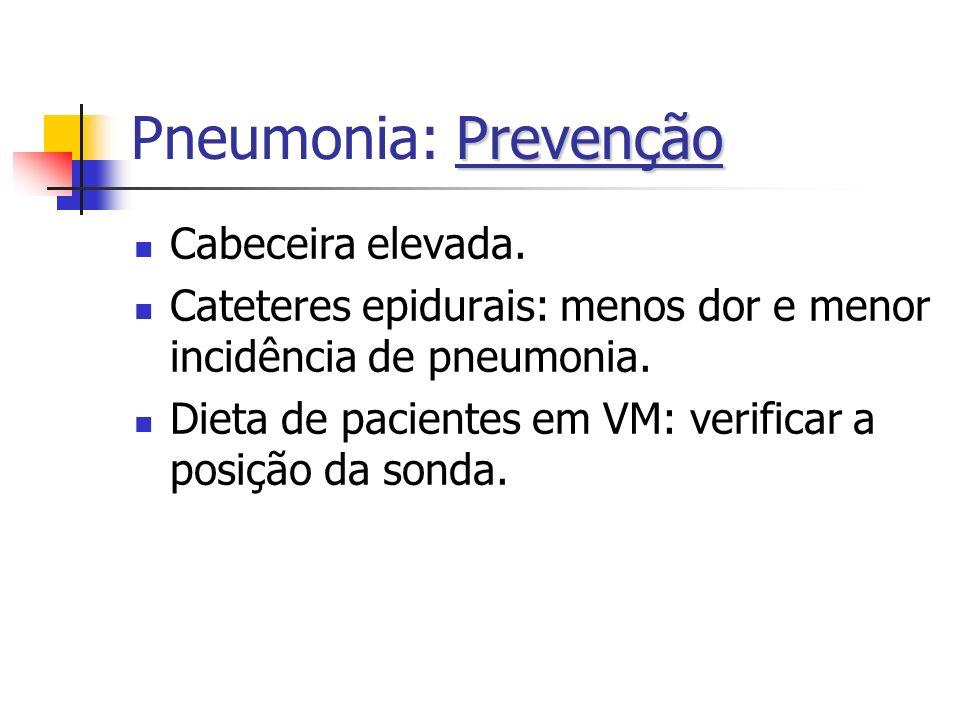 Pneumonia: Prevenção Cabeceira elevada.