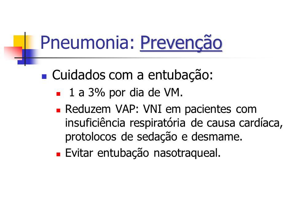 Pneumonia: Prevenção Cuidados com a entubação: 1 a 3% por dia de VM.
