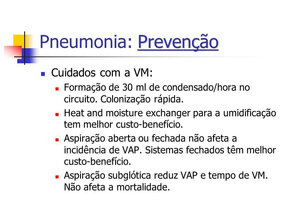 Pneumonia: Prevenção Cuidados com a VM: