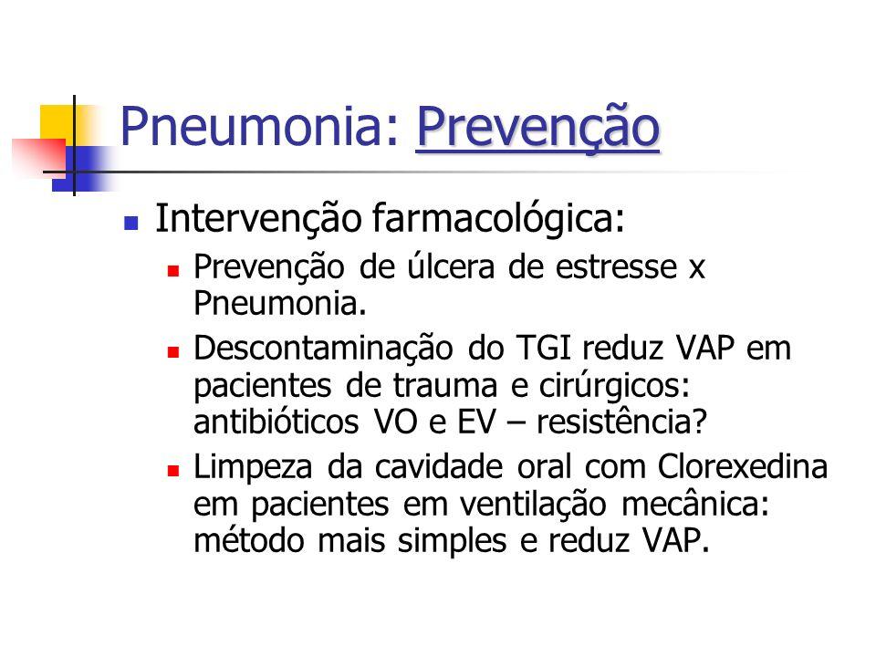 Pneumonia: Prevenção Intervenção farmacológica:
