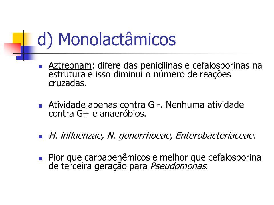 d) Monolactâmicos Aztreonam: difere das penicilinas e cefalosporinas na estrutura e isso diminui o número de reações cruzadas.