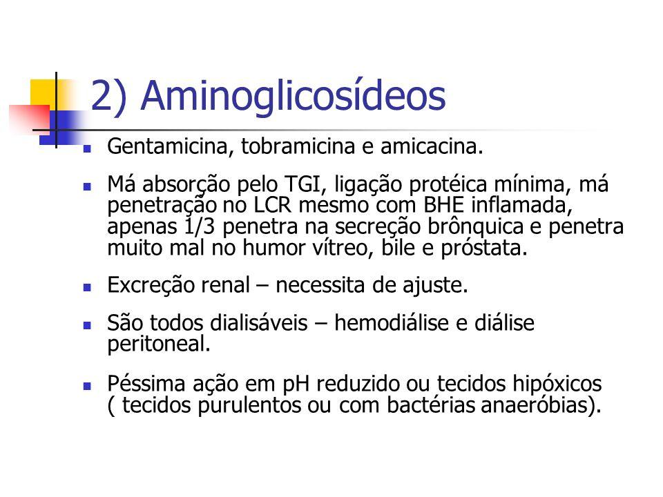 2) Aminoglicosídeos Gentamicina, tobramicina e amicacina.