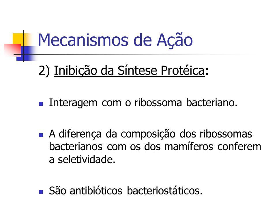 Mecanismos de Ação 2) Inibição da Síntese Protéica: