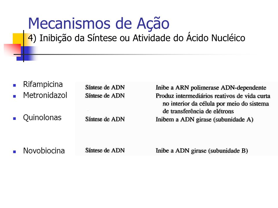 Mecanismos de Ação 4) Inibição da Síntese ou Atividade do Ácido Nucléico