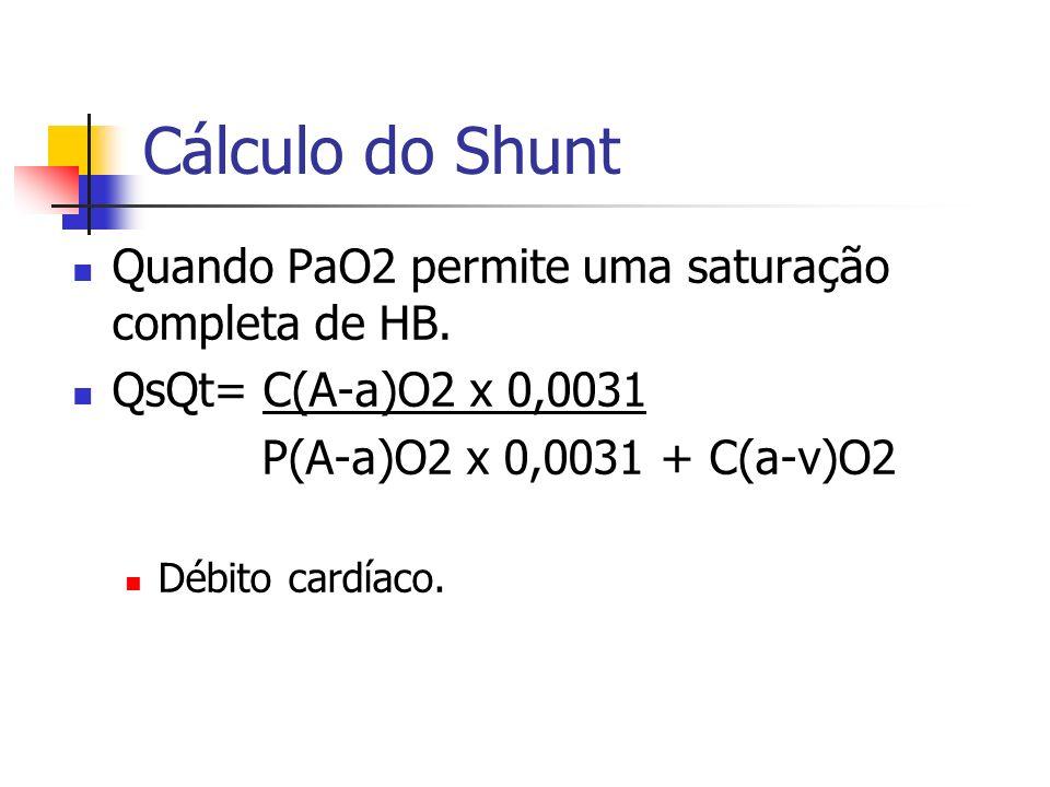 Cálculo do Shunt Quando PaO2 permite uma saturação completa de HB.