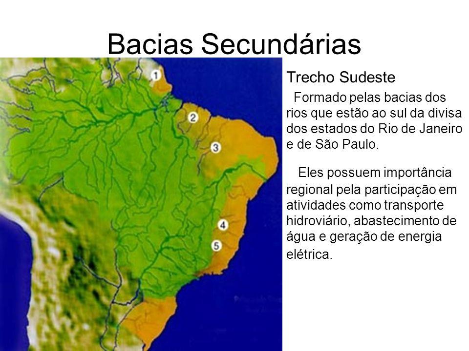 Bacias Secundárias Trecho Sudeste. Formado pelas bacias dos rios que estão ao sul da divisa dos estados do Rio de Janeiro e de São Paulo.
