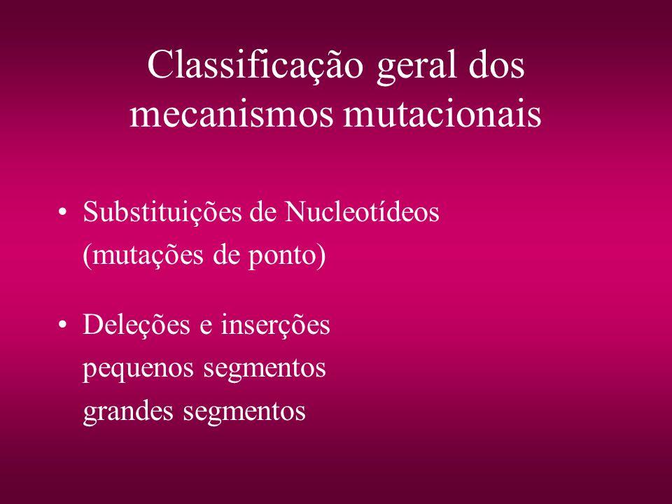 Classificação geral dos mecanismos mutacionais
