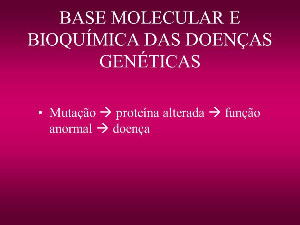 BASE MOLECULAR E BIOQUÍMICA DAS DOENÇAS GENÉTICAS