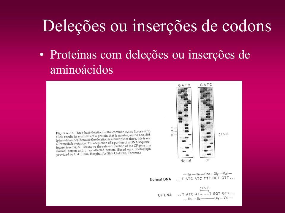 Deleções ou inserções de codons