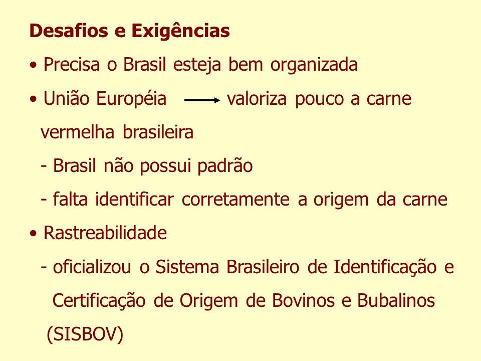 Desafios e Exigências Precisa o Brasil esteja bem organizada. União Européia valoriza pouco a carne.