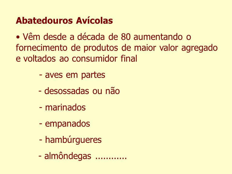 Abatedouros Avícolas Vêm desde a década de 80 aumentando o fornecimento de produtos de maior valor agregado e voltados ao consumidor final.