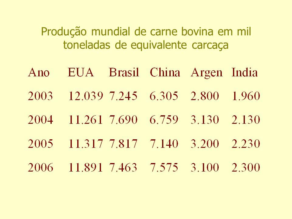 Produção mundial de carne bovina em mil toneladas de equivalente carcaça