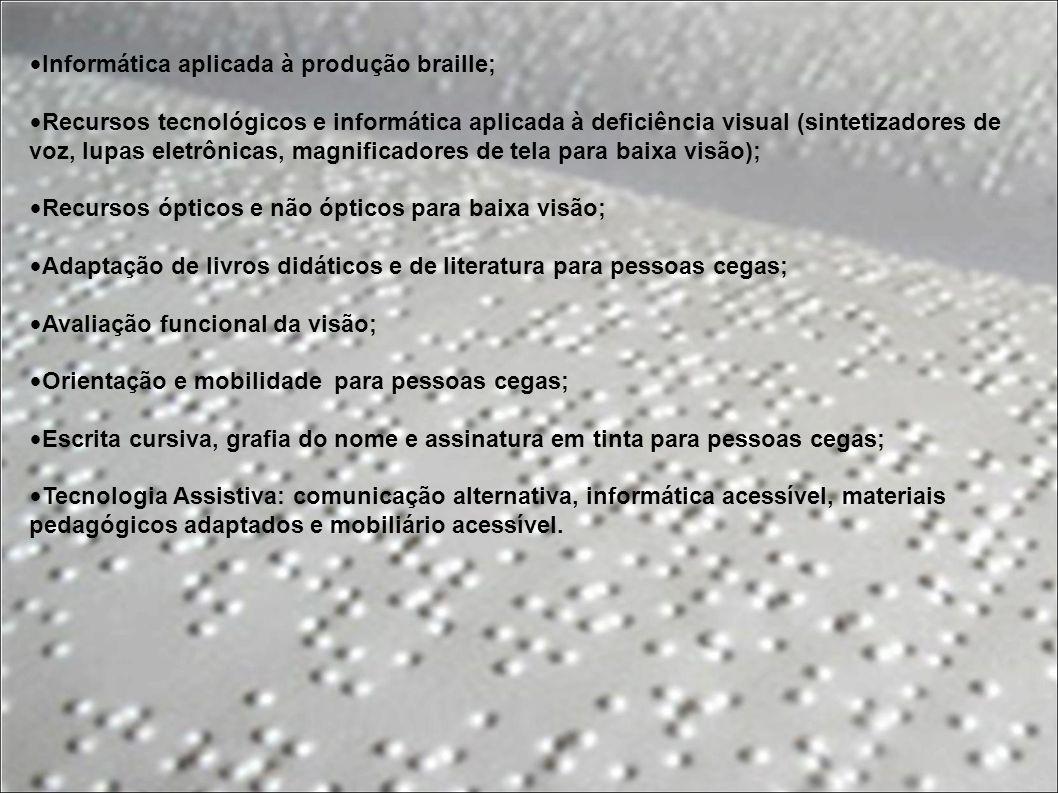 Informática aplicada à produção braille;