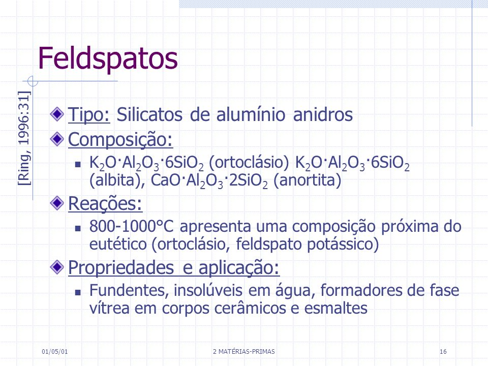 Feldspatos Tipo: Silicatos de alumínio anidros Composição: Reações: