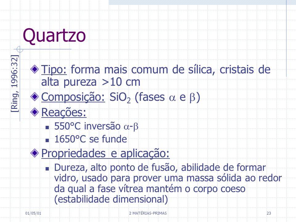 QuartzoTipo: forma mais comum de sílica, cristais de alta pureza >10 cm. Composição: SiO2 (fases  e )