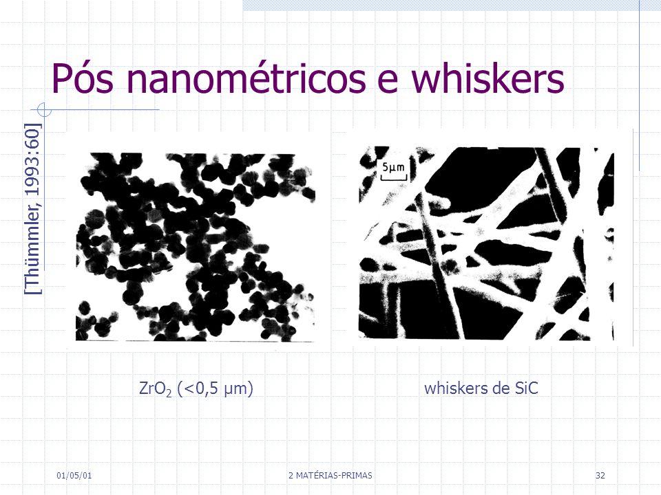 Pós nanométricos e whiskers