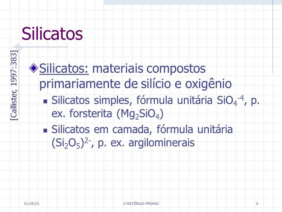 SilicatosSilicatos: materiais compostos primariamente de silício e oxigênio. Silicatos simples, fórmula unitária SiO4-4, p. ex. forsterita (Mg2SiO4)