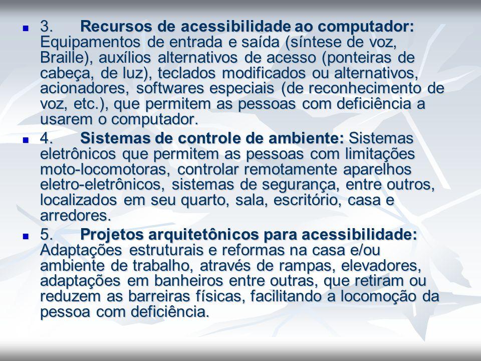 3. Recursos de acessibilidade ao computador: Equipamentos de entrada e saída (síntese de voz, Braille), auxílios alternativos de acesso (ponteiras de cabeça, de luz), teclados modificados ou alternativos, acionadores, softwares especiais (de reconhecimento de voz, etc.), que permitem as pessoas com deficiência a usarem o computador.