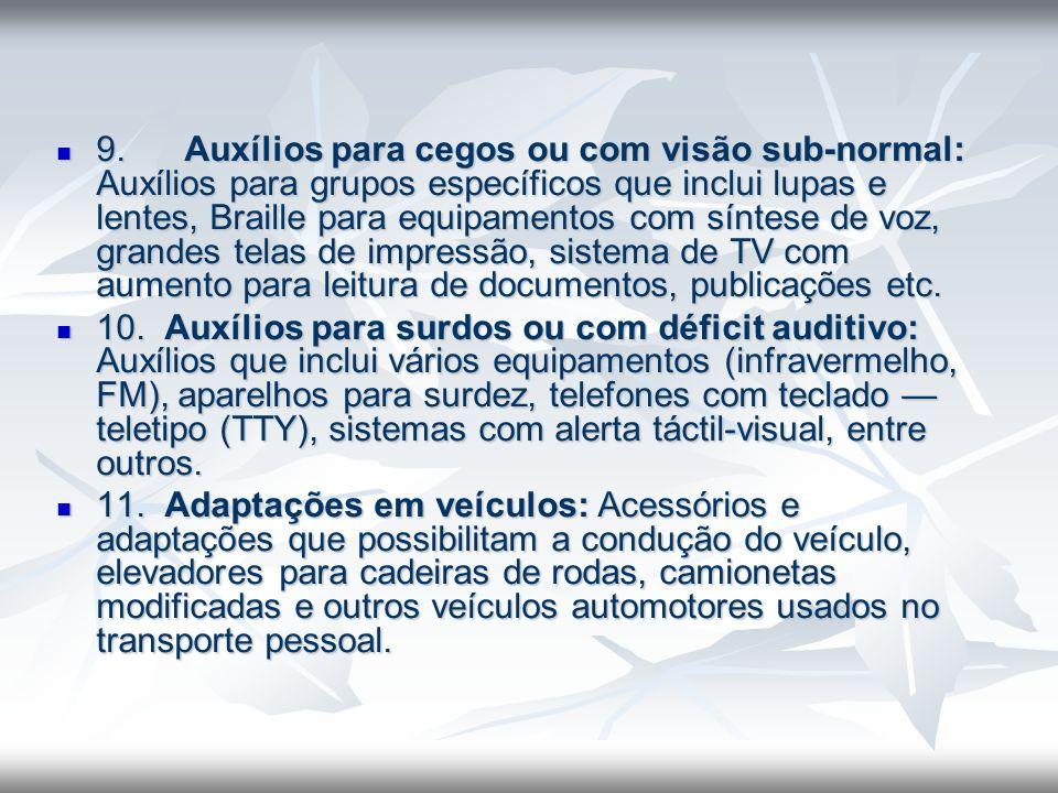 9. Auxílios para cegos ou com visão sub-normal: Auxílios para grupos específicos que inclui lupas e lentes, Braille para equipamentos com síntese de voz, grandes telas de impressão, sistema de TV com aumento para leitura de documentos, publicações etc.