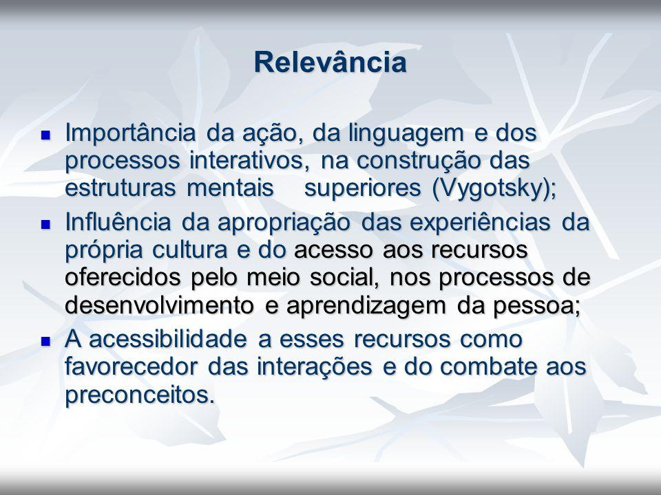 Relevância Importância da ação, da linguagem e dos processos interativos, na construção das estruturas mentais superiores (Vygotsky);
