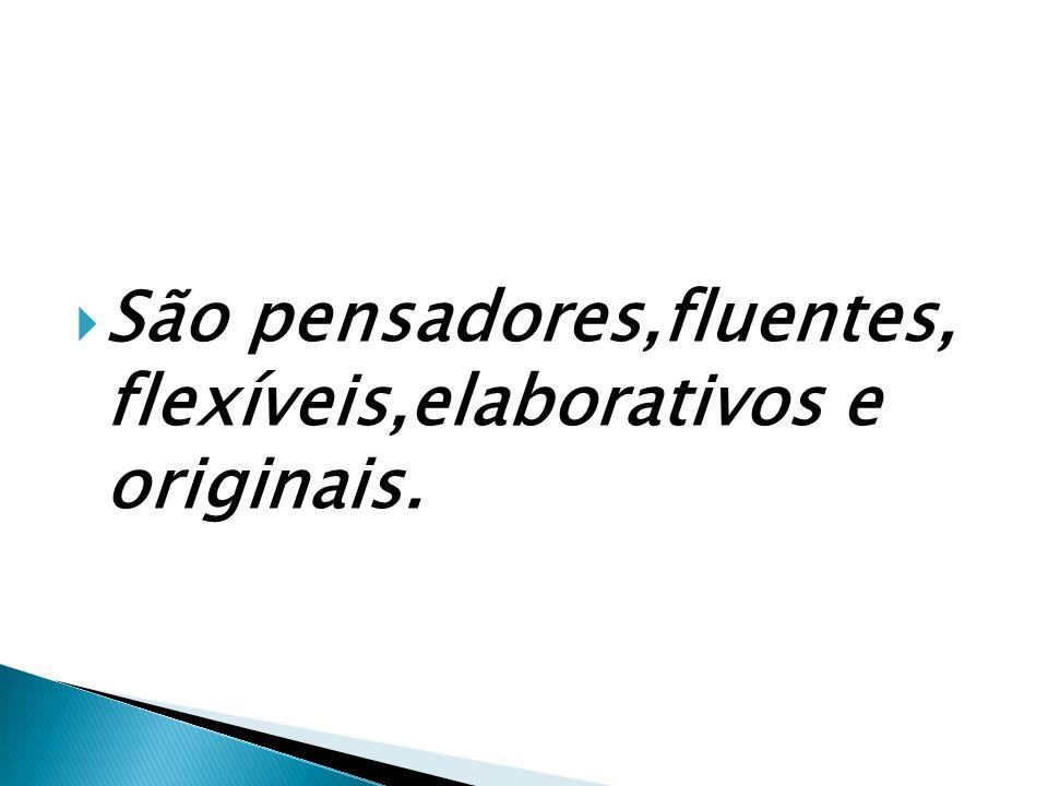 São pensadores,fluentes, flexíveis,elaborativos e originais.