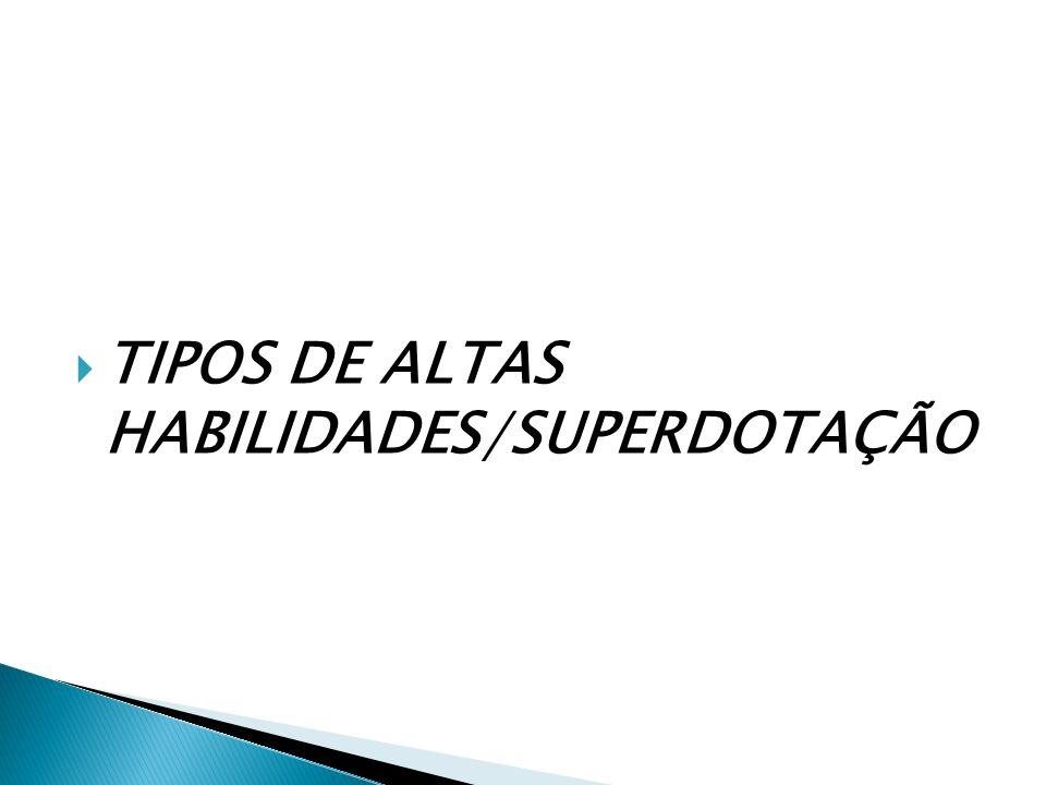 TIPOS DE ALTAS HABILIDADES/SUPERDOTAÇÃO