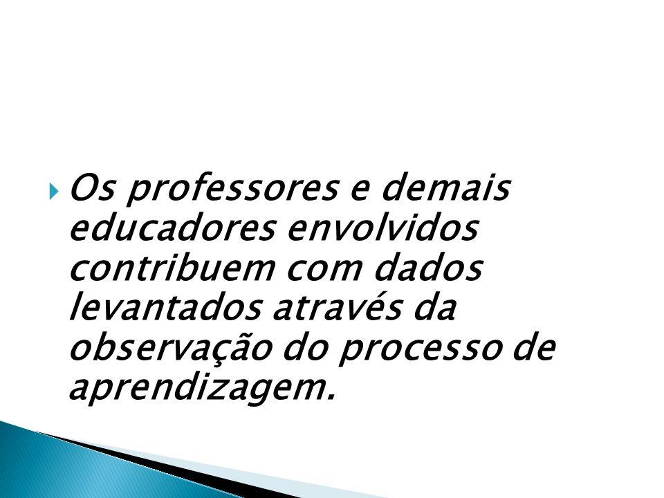 Os professores e demais educadores envolvidos contribuem com dados levantados através da observação do processo de aprendizagem.
