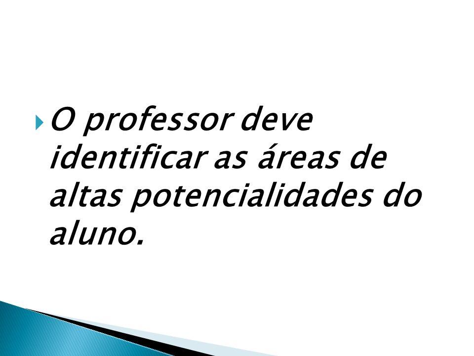 O professor deve identificar as áreas de altas potencialidades do aluno.