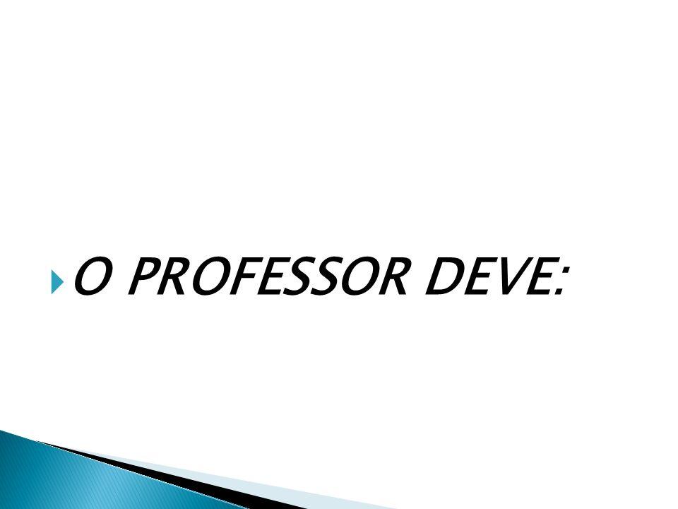 O PROFESSOR DEVE: