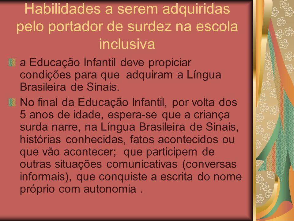 Habilidades a serem adquiridas pelo portador de surdez na escola inclusiva
