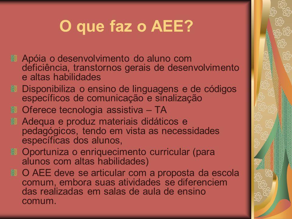 O que faz o AEE Apóia o desenvolvimento do aluno com deficiência, transtornos gerais de desenvolvimento e altas habilidades.