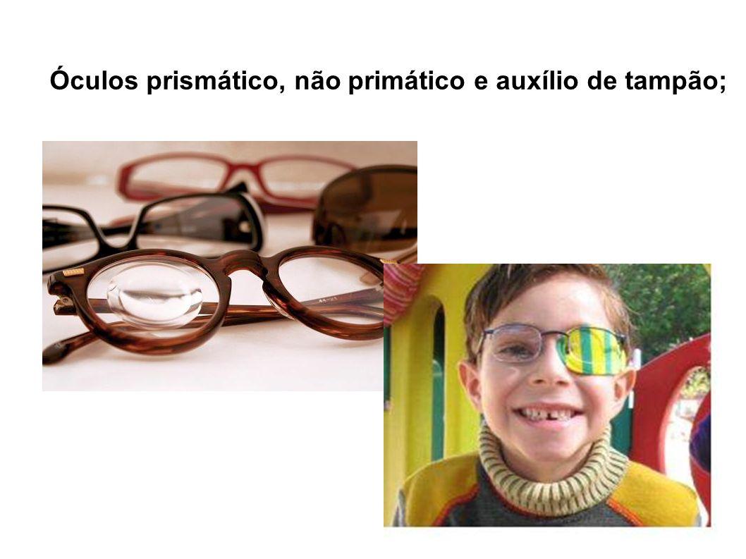 Óculos prismático, não primático e auxílio de tampão;