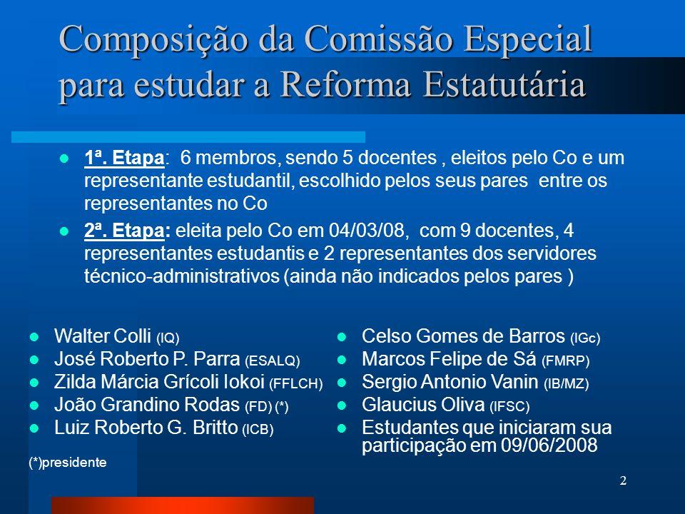 Composição da Comissão Especial para estudar a Reforma Estatutária