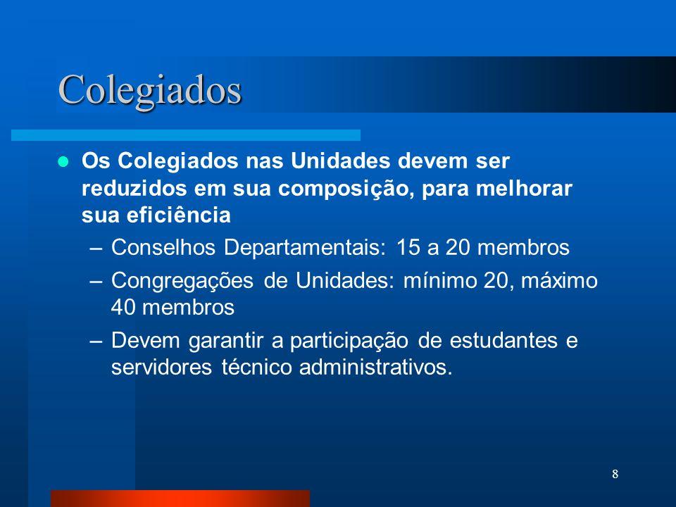 Colegiados Os Colegiados nas Unidades devem ser reduzidos em sua composição, para melhorar sua eficiência.