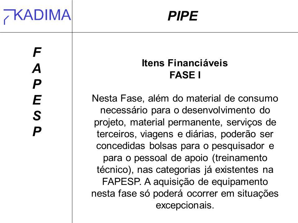 PIPE F A P E S Itens Financiáveis FASE I