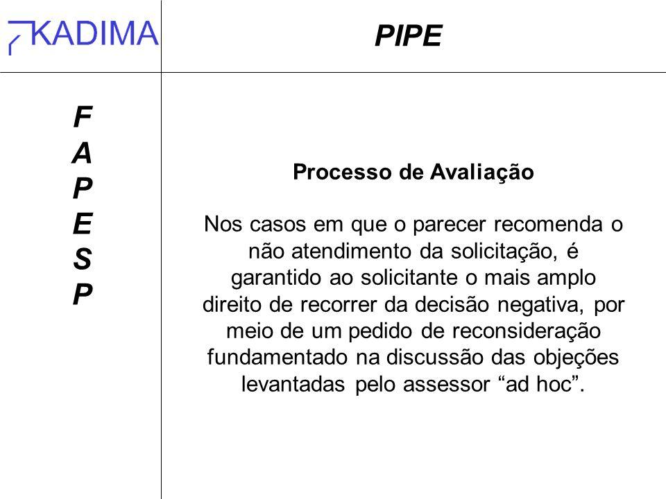PIPE F A P E S Processo de Avaliação