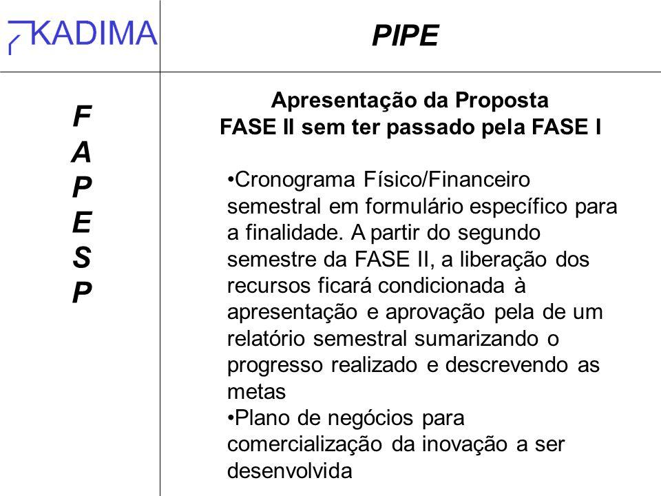 Apresentação da Proposta FASE II sem ter passado pela FASE I