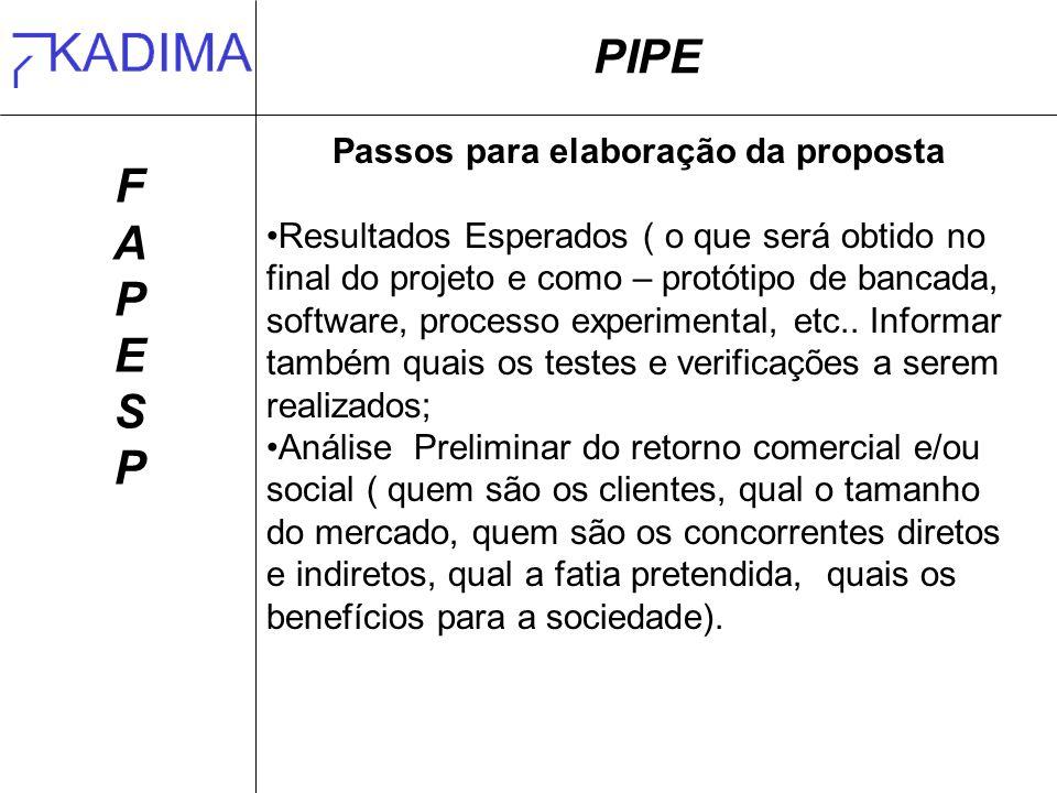 Passos para elaboração da proposta
