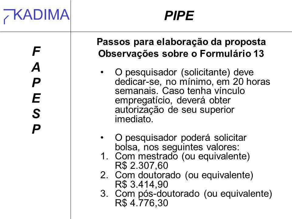Passos para elaboração da proposta Observações sobre o Formulário 13