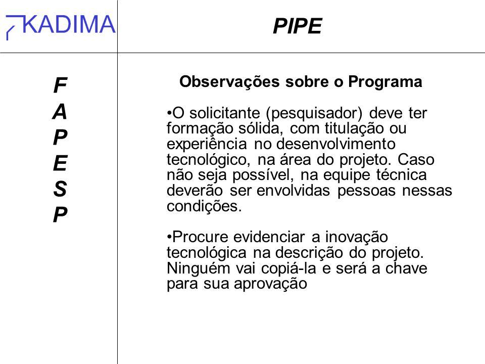Observações sobre o Programa