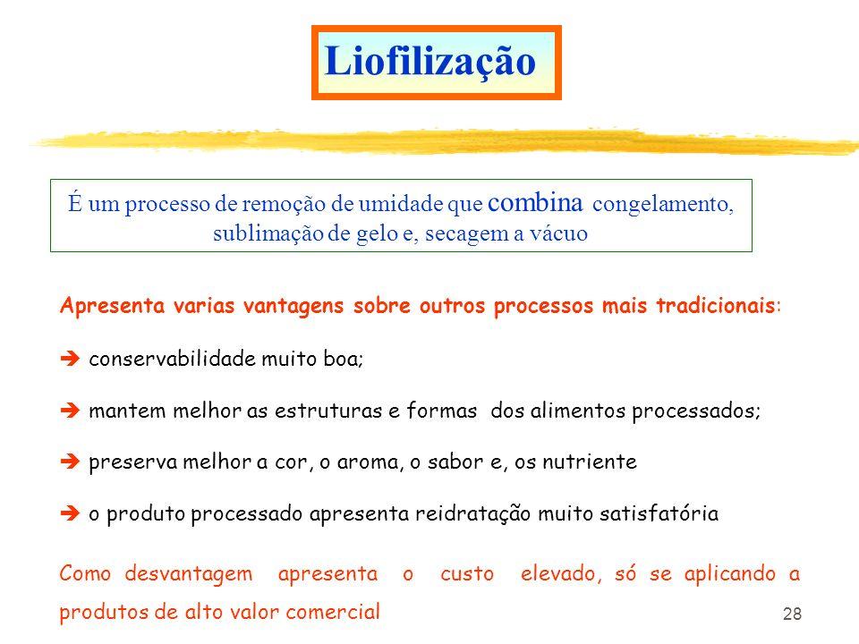 LiofilizaçãoÉ um processo de remoção de umidade que combina congelamento, sublimação de gelo e, secagem a vácuo.