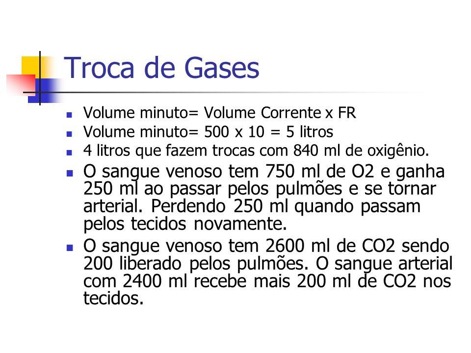 Troca de Gases Volume minuto= Volume Corrente x FR. Volume minuto= 500 x 10 = 5 litros. 4 litros que fazem trocas com 840 ml de oxigênio.