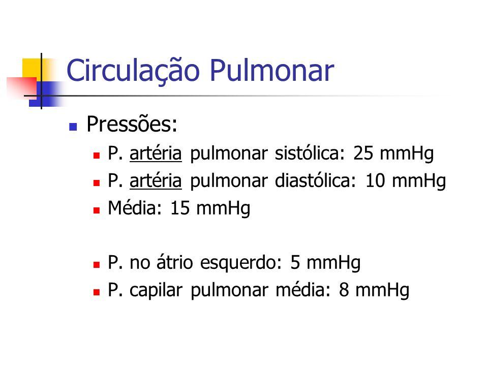 Circulação Pulmonar Pressões: P. artéria pulmonar sistólica: 25 mmHg