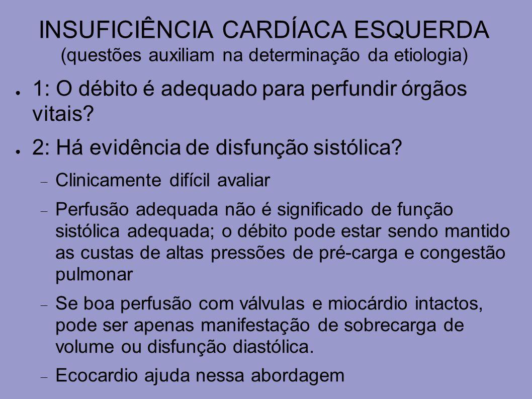 INSUFICIÊNCIA CARDÍACA ESQUERDA (questões auxiliam na determinação da etiologia)