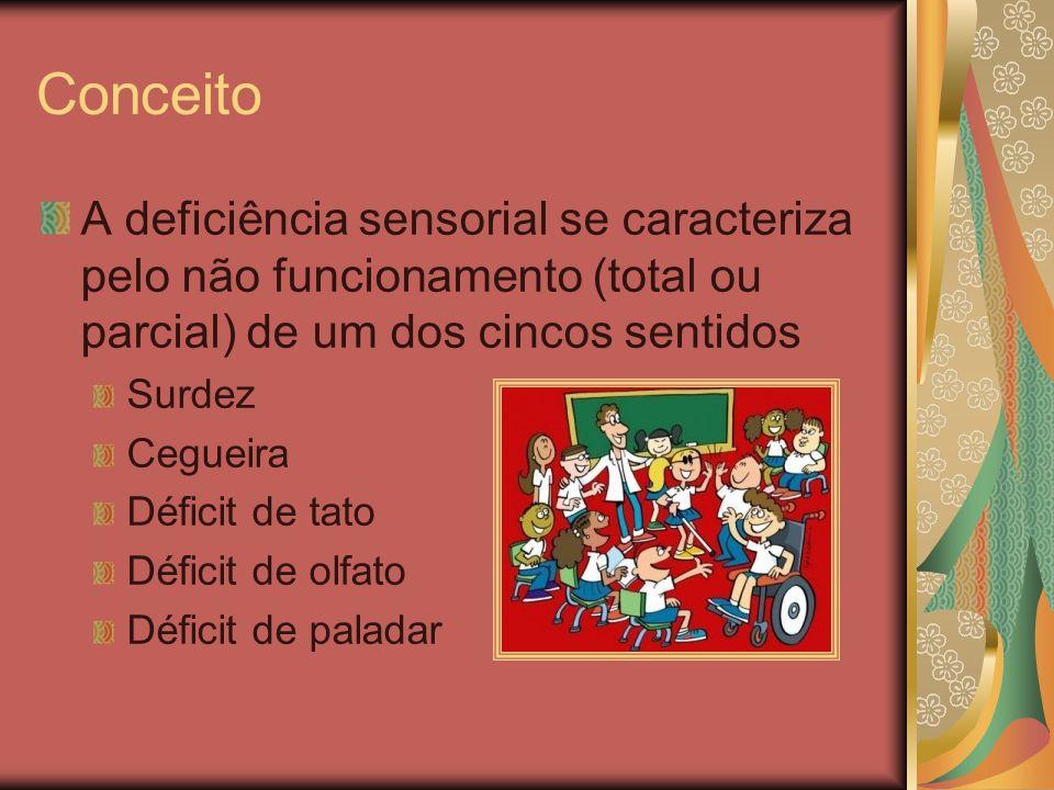 Conceito A deficiência sensorial se caracteriza pelo não funcionamento (total ou parcial) de um dos cincos sentidos.