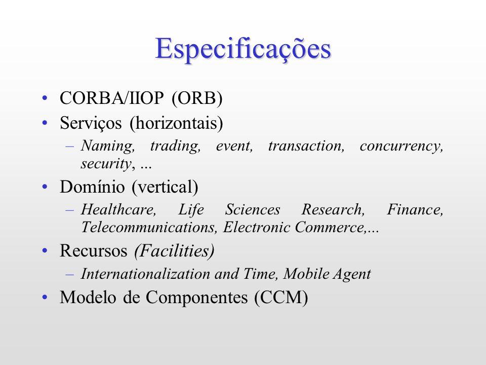 Especificações CORBA/IIOP (ORB) Serviços (horizontais)
