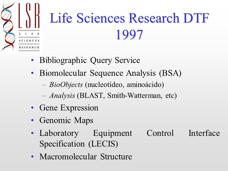 Life Sciences Research DTF 1997